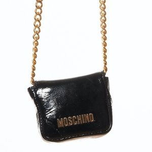 MOSCHINO NANO GOLD METAL BANDOULIERE BAG